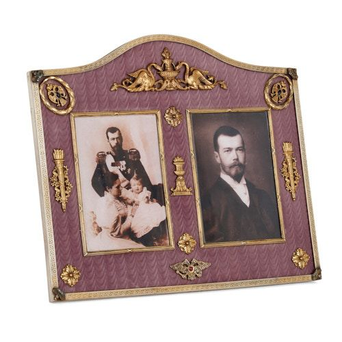 Fabergé style gold, enamel, and gemstone photograph frame