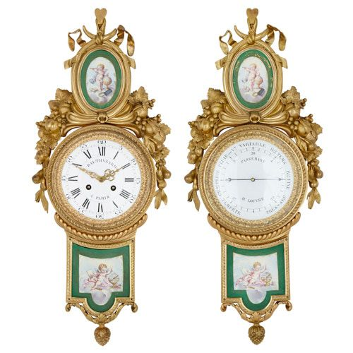 Porcelain and ormolu clock and barometer by Balthazard