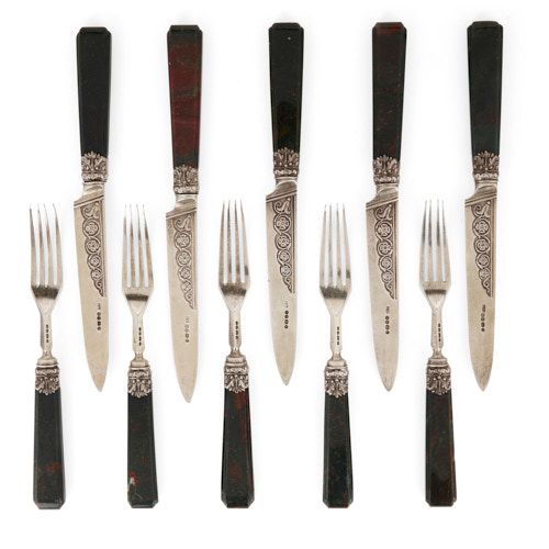 Antique set of five silver and bloodstone knives and forks