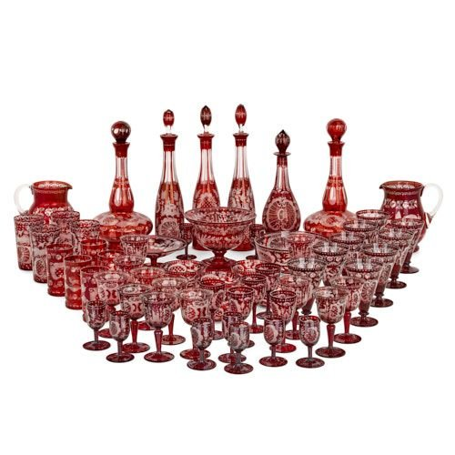 Large Bohemian wheel cut ruby red glass suite