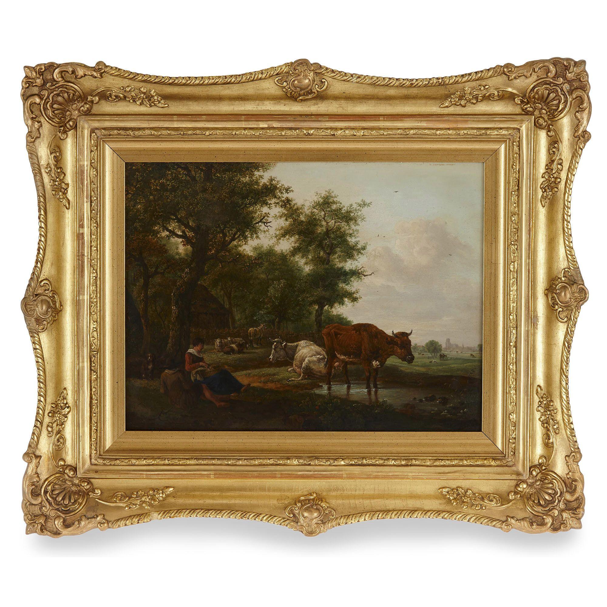 Masterpiece: Dutch School Old Master Pastoral Landscape Oil Painting
