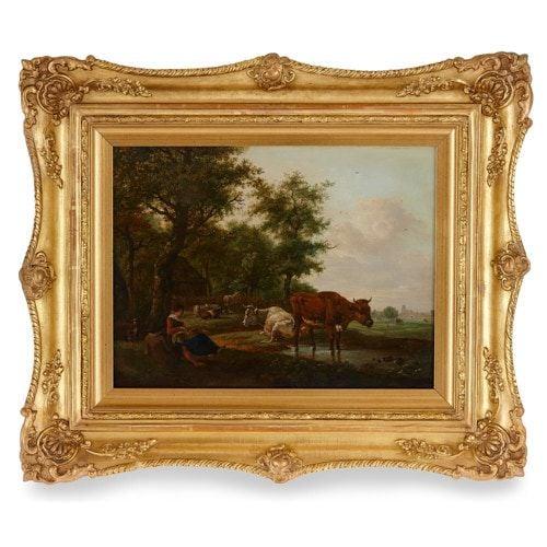 Dutch School Old Master pastoral landscape oil painting