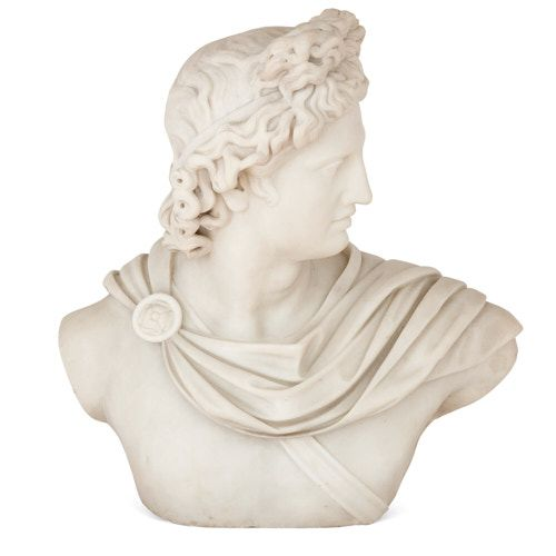 Carved marble bust after the Apollo Belvedere