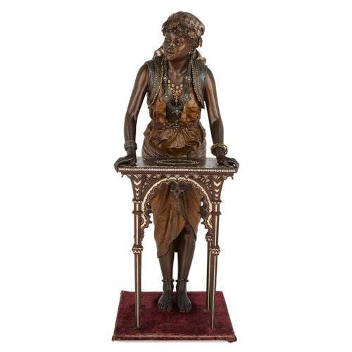 Large Orientalist spelter sculpture by Louis Hottot