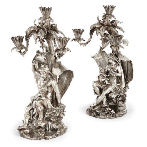 Pair of Victorian silvered-bronze candelabra by Elkington