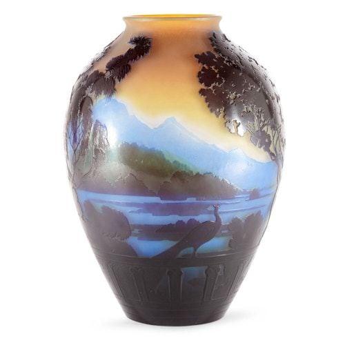 Art Nouveau cameo glass vase portraying Lake Como by Gallé