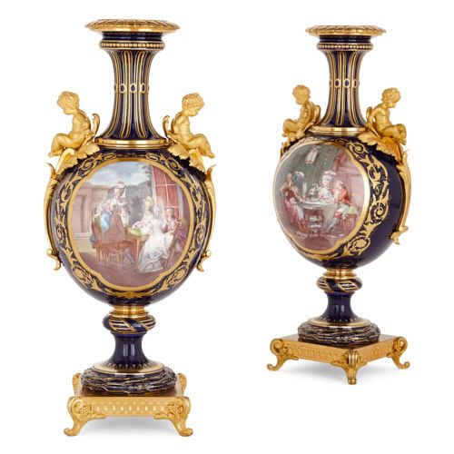 Pair of Sèvres style porcelain and ormolu vases by Sévin