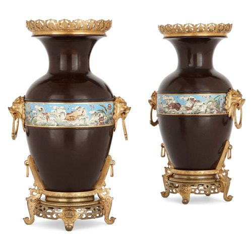 Pair of French Chinoiserie bronze and enamel vases