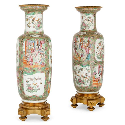 Pair of Chinese famille-verte porcelain and ormolu vases