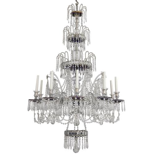 Large Russian cobalt blue and clear glass ten-light chandelier