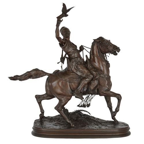 'The Arab Falconer', patinated bronze sculpture after Mêne