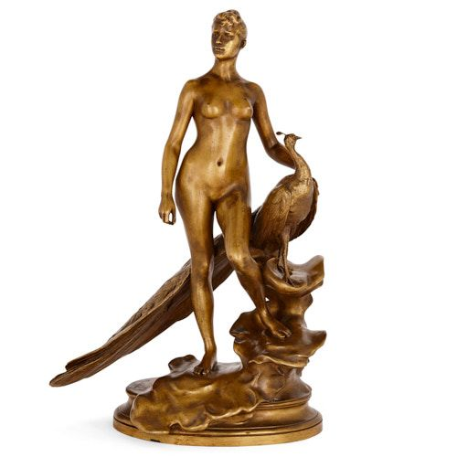 'Femme au Paon,' patinated bronze sculpture by Falguière