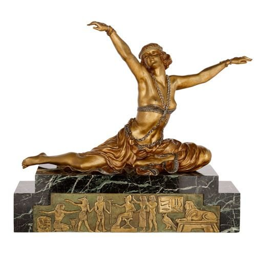 'Theban Dancer,' Art Deco ormolu and marble sculpture by Colinet