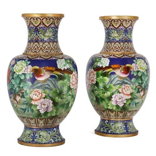 Pair of large Chinese cloisonné enamel vases
