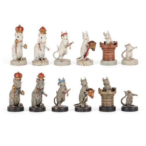 Very rare Viennese cold painted bronze chess set by Bergman