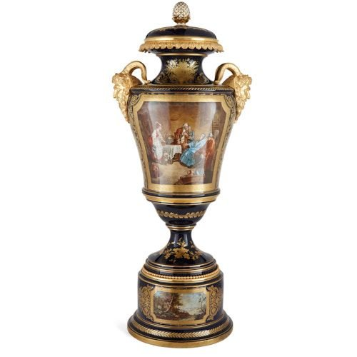 Large ormolu and Sèvres style porcelain vase