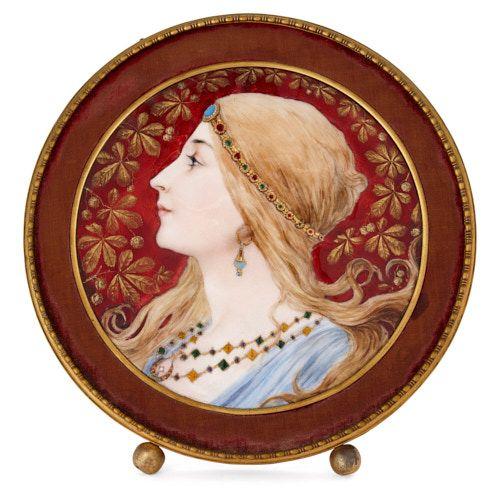 Circular Limoges enamel plaque in gilt metal frame