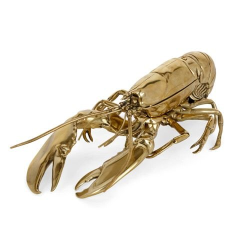 Antique Victorian articulated brass lobster-form inkstand
