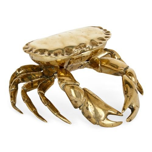 Victorian brass inkwell in the form of a crab