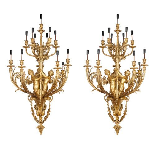 Pair of very large French ormolu wall lights