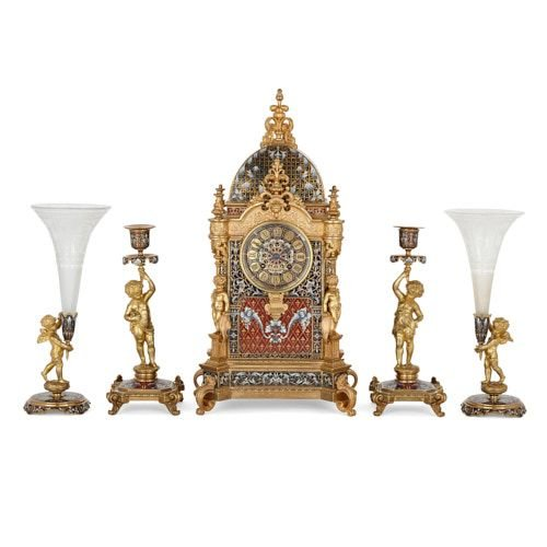 French ormolu mounted champlevé enamel five-piece clock set