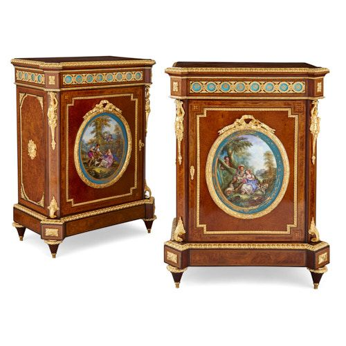 Pair of Victorian ormolu and porcelain mounted amboyna cabinets