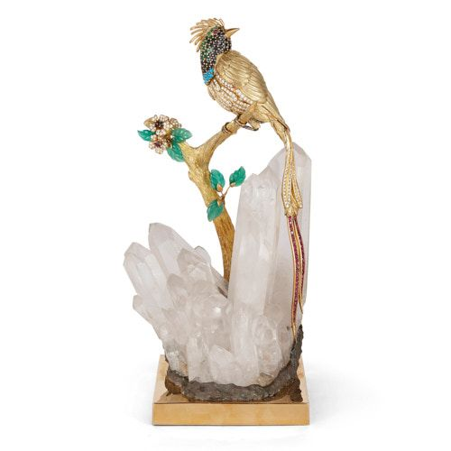 Gold, precious stone, and quartz model of a bird