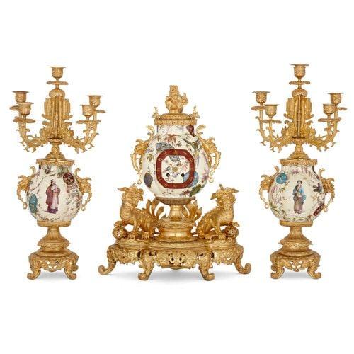 Chinoiserie style ormolu and faience three-piece clock set