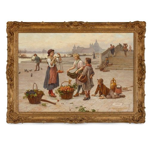 'The Fruit Seller', Italian oil painting by Paoletti