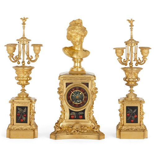 Ormolu and pietra dura three-piece clock set by Barbedienne