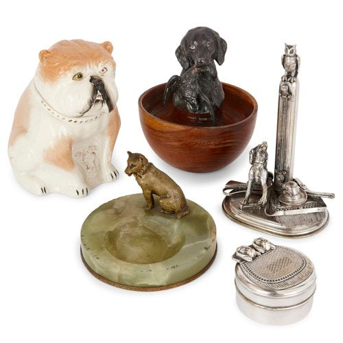 Collection of five dog-themed objects