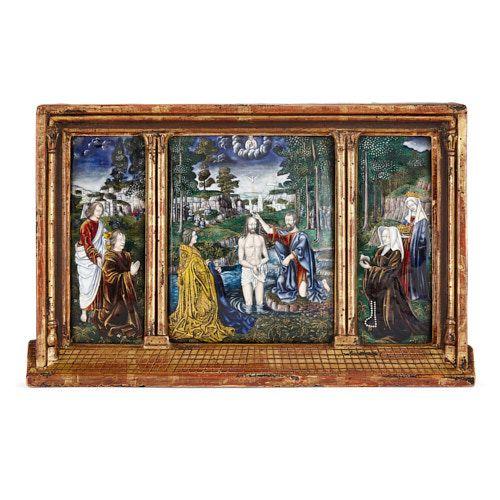 Limoges enamel triptych after Gerard David