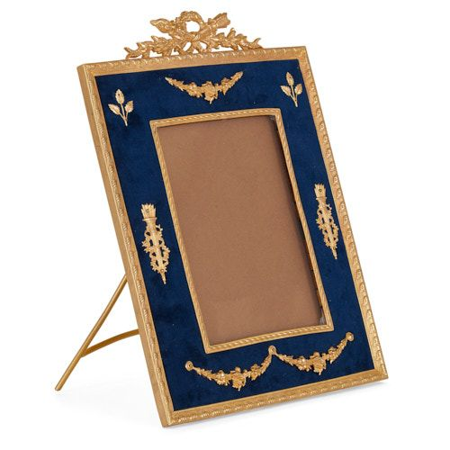 Neoclassical style ormolu and blue velvet photograph frame