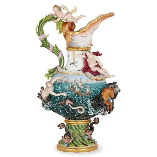 Large Meissen porcelain 'Elements' ewer emblematic of Water