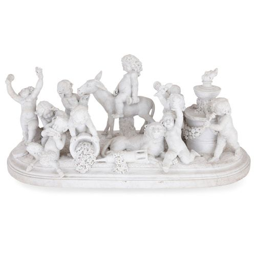 'Bacchanalia', large marble sculptural group by Brou