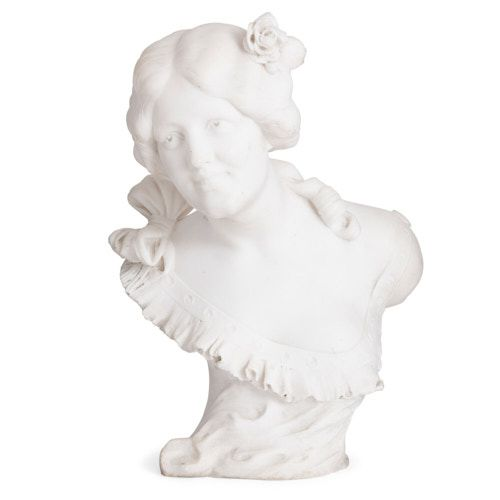 Art Nouveau marble bust of a lady by Pugi