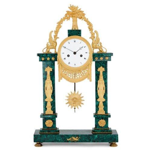 Louis XVI period ormolu mounted malachite mantel clock