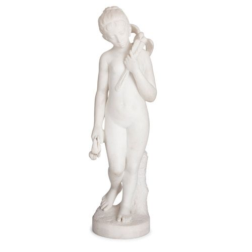 Large antique white marble sculpture of a girl