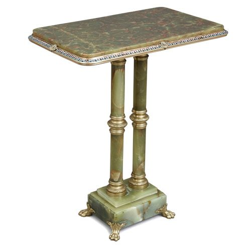 Ormolu and champlevé enamel mounted green onyx side table