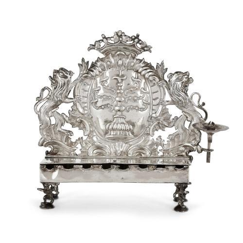 German Silver Judaica Hanukkah Menorah by Herfurth