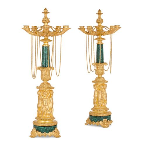 Pair of Charles X period malachite and ormolu candelabra