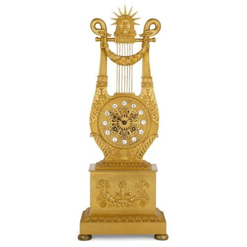 Louis XVI style ormolu lyre-shaped mantel clock by Le Roy