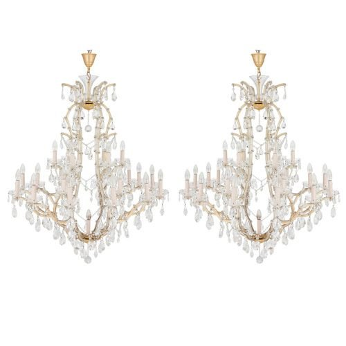Pair of Bohemian cut glass chandeliers