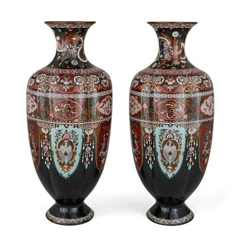 Pair of Meiji period cloisonné enamel and goldstone vases