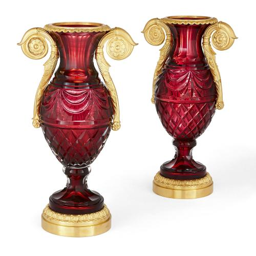 Pair of Russian ormolu and ruby cut glass vases
