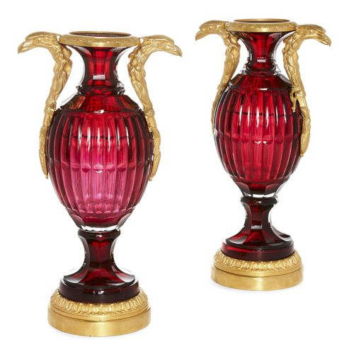 Pair of Russian ormolu mounted ruby cut glass vases
