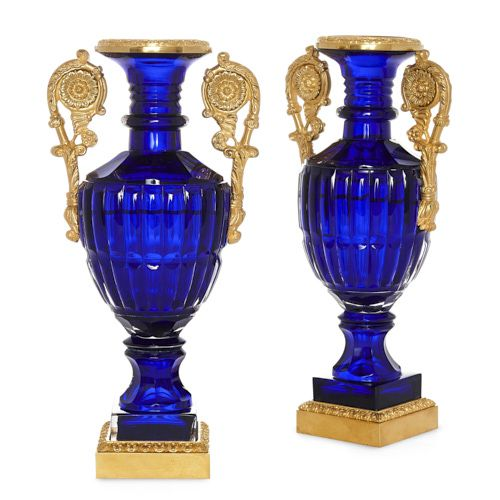 Pair of Russian Neoclassical style ormolu and blue glass vases
