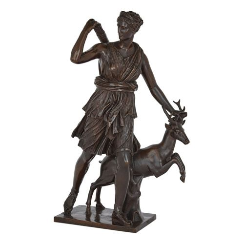 Patinated bronze figure of Diana the Huntress by Barbedienne