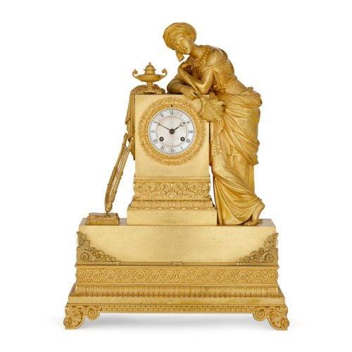 Charles X period Orientalist ormolu mantel clock by Denière
