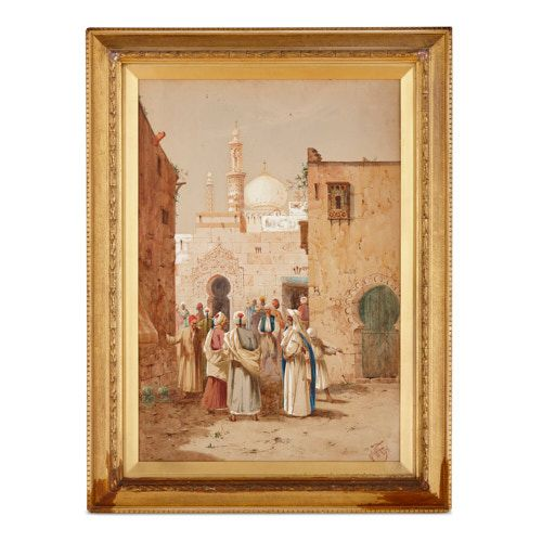 Large Orientalist watercolour painting by Lynton